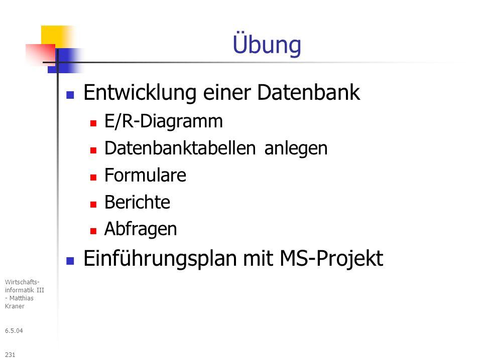 Übung Entwicklung einer Datenbank Einführungsplan mit MS-Projekt