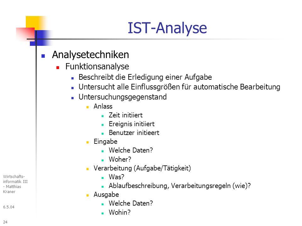 IST-Analyse Analysetechniken Funktionsanalyse