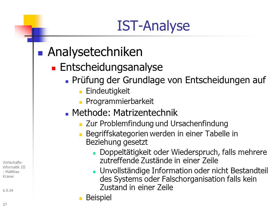 IST-Analyse Analysetechniken Entscheidungsanalyse