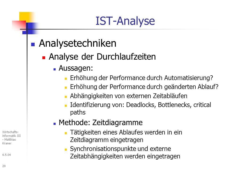 IST-Analyse Analysetechniken Analyse der Durchlaufzeiten Aussagen: