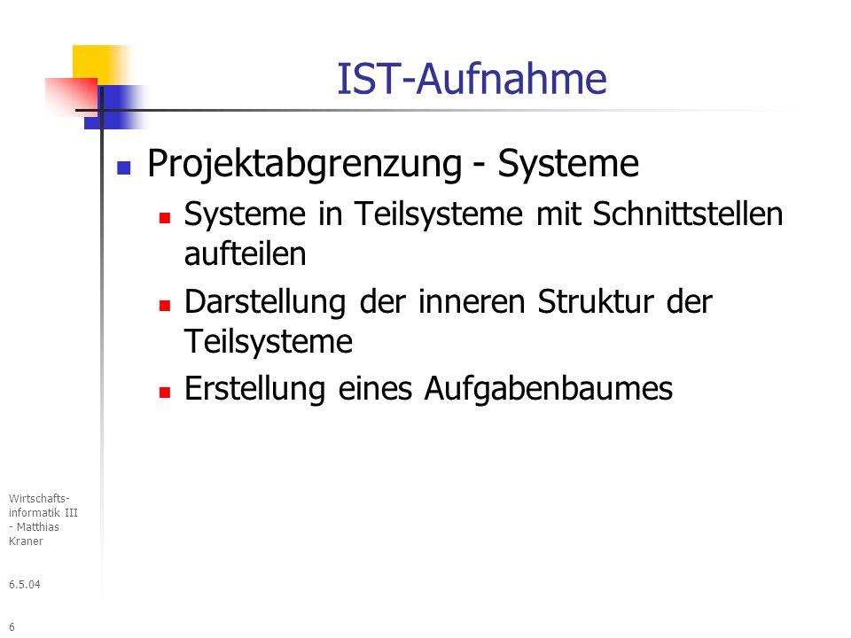 IST-Aufnahme Projektabgrenzung - Systeme
