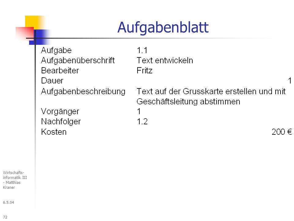 Aufgabenblatt Wirtschafts- informatik III - Matthias Kraner 6.5.04