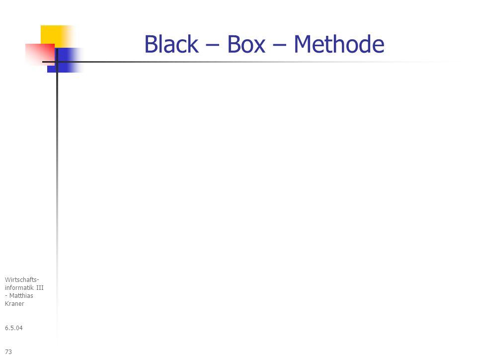 Black – Box – Methode Wirtschafts- informatik III - Matthias Kraner