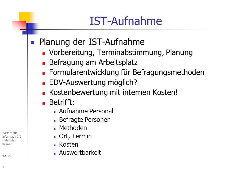 IST-Aufnahme Planung der IST-Aufnahme
