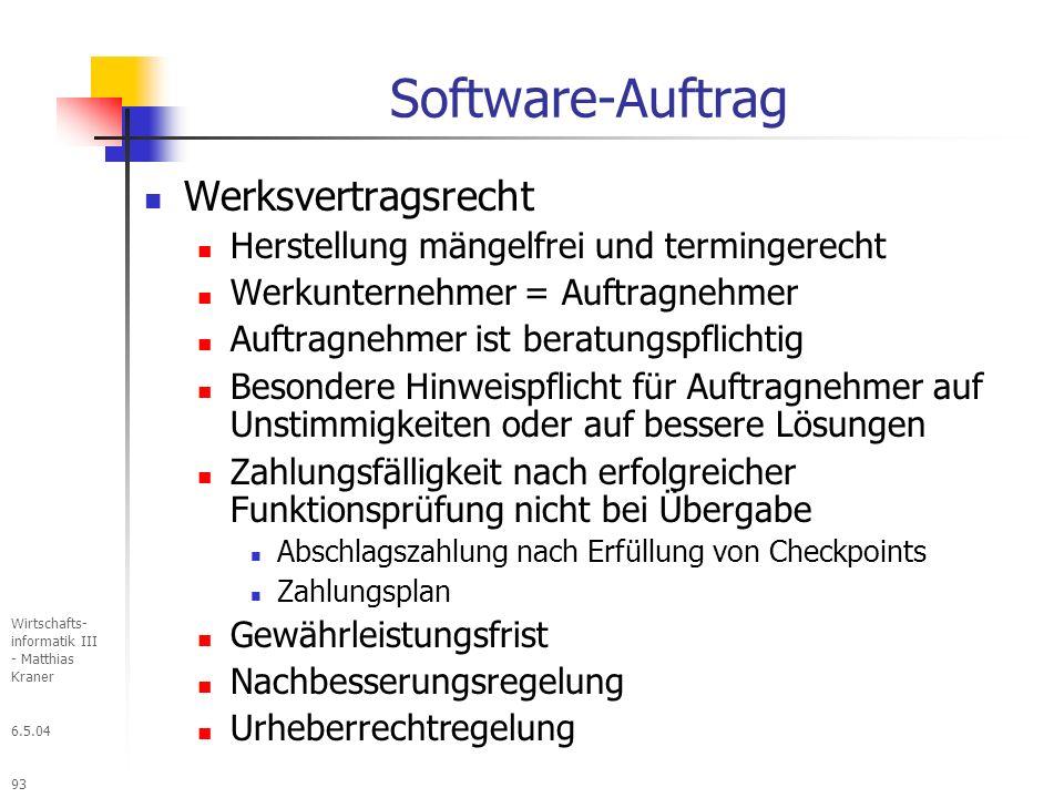 Software-Auftrag Werksvertragsrecht
