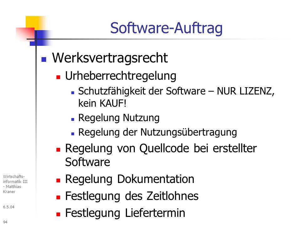 Software-Auftrag Werksvertragsrecht Urheberrechtregelung