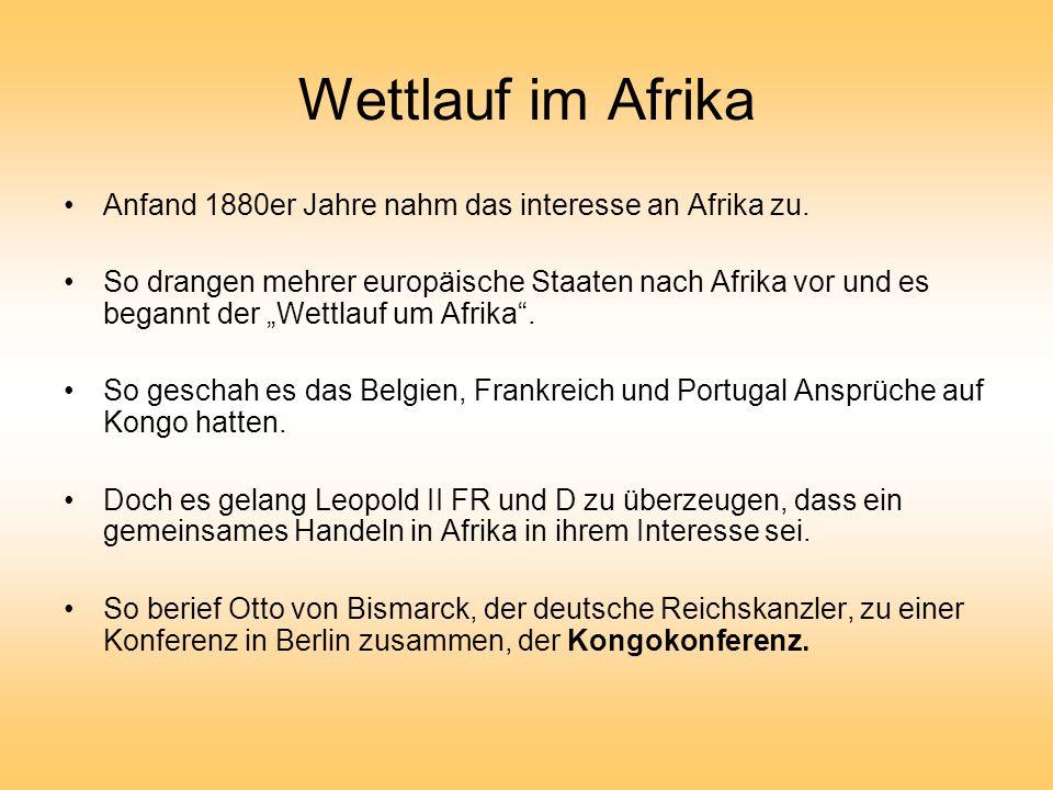 Wettlauf im Afrika Anfand 1880er Jahre nahm das interesse an Afrika zu.