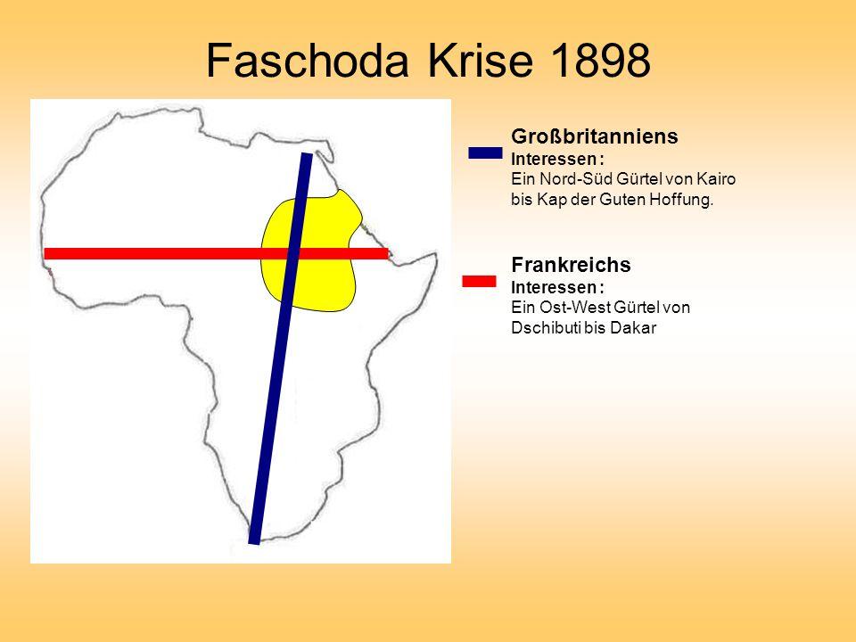 Faschoda Krise 1898 Großbritanniens Interessen : Ein Nord-Süd Gürtel von Kairo bis Kap der Guten Hoffung.