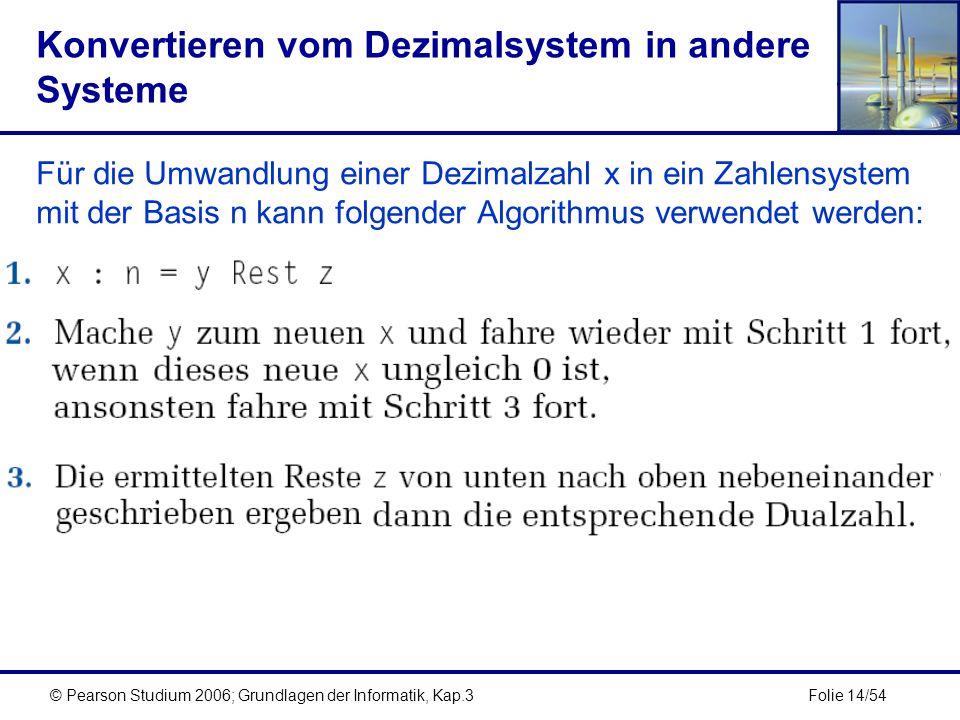 Konvertieren vom Dezimalsystem in andere Systeme