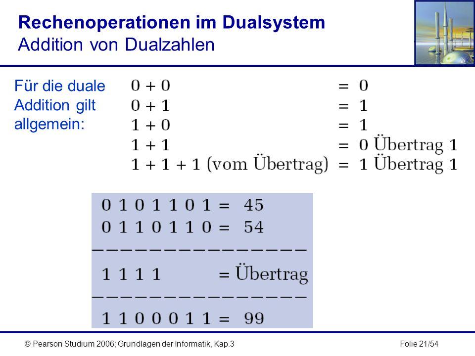 Rechenoperationen im Dualsystem Addition von Dualzahlen