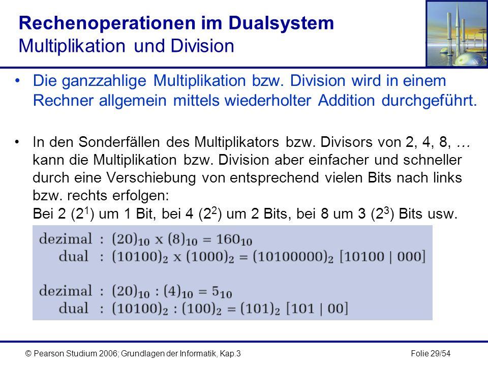 Rechenoperationen im Dualsystem Multiplikation und Division