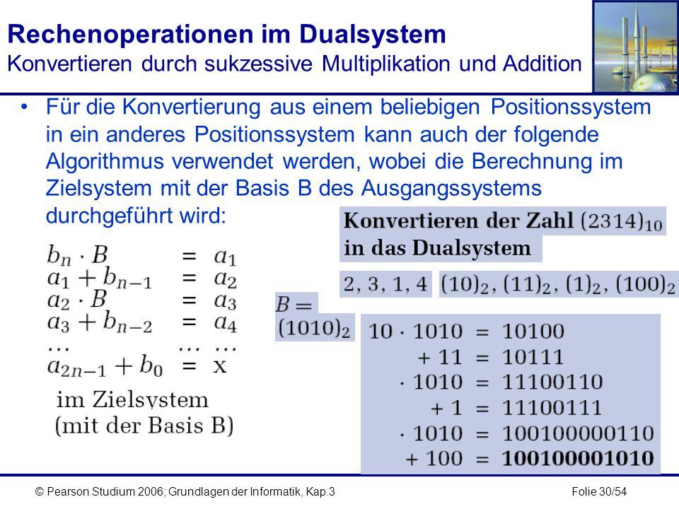 Rechenoperationen im Dualsystem Konvertieren durch sukzessive Multiplikation und Addition