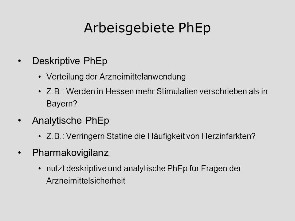 Arbeisgebiete PhEp Deskriptive PhEp Analytische PhEp Pharmakovigilanz
