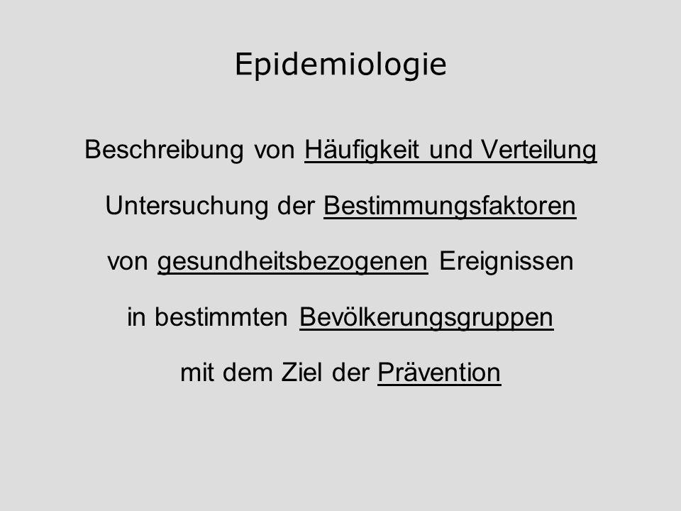 Epidemiologie Beschreibung von Häufigkeit und Verteilung
