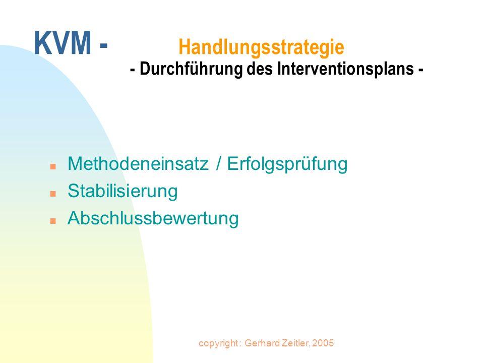 KVM - Handlungsstrategie - Durchführung des Interventionsplans -