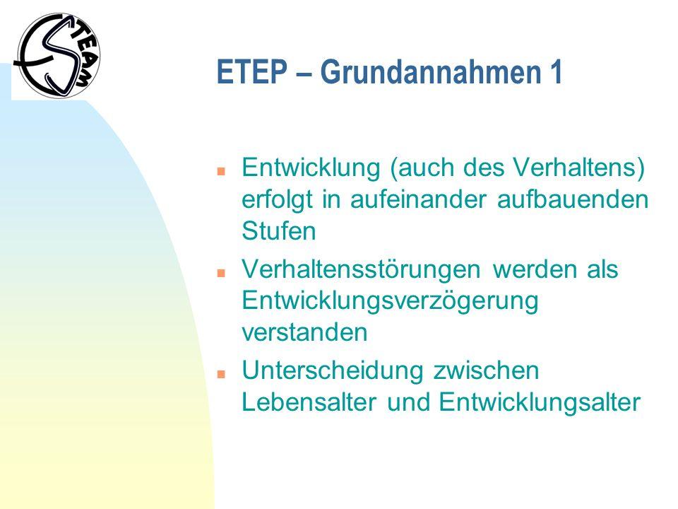 ETEP – Grundannahmen 1 Entwicklung (auch des Verhaltens) erfolgt in aufeinander aufbauenden Stufen.