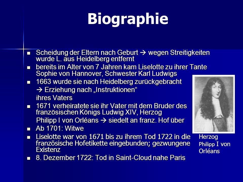 Biographie Scheidung der Eltern nach Geburt  wegen Streitigkeiten wurde L. aus Heidelberg entfernt.