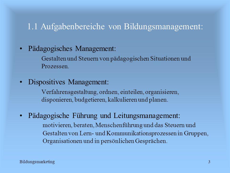 1.1 Aufgabenbereiche von Bildungsmanagement: