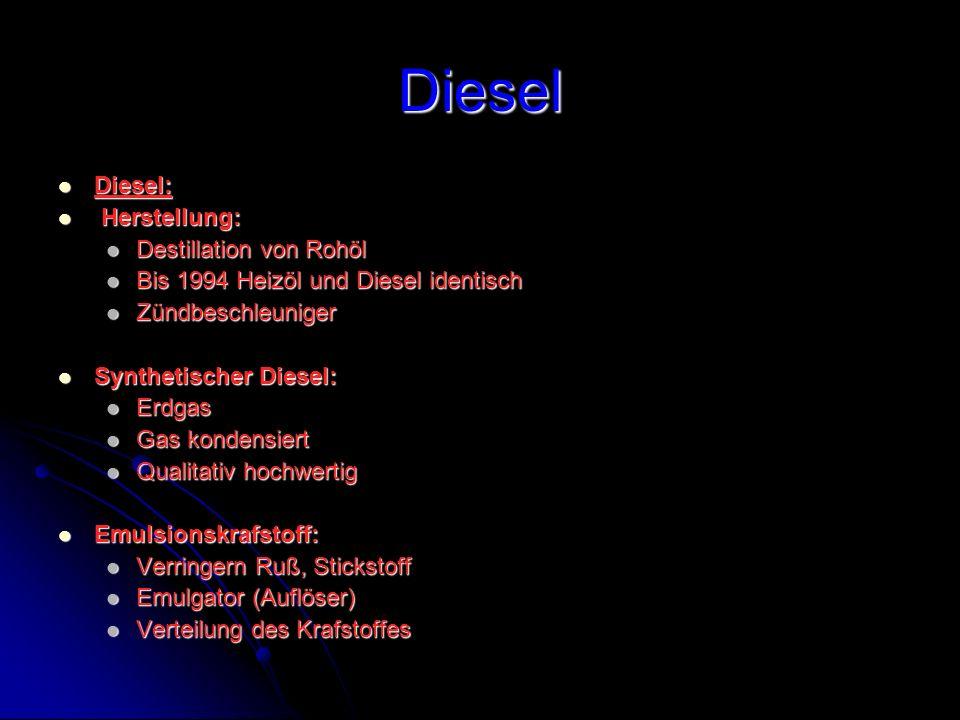 Diesel Diesel: Herstellung: Destillation von Rohöl