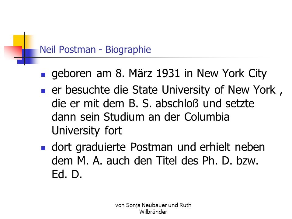 Neil Postman - Biographie