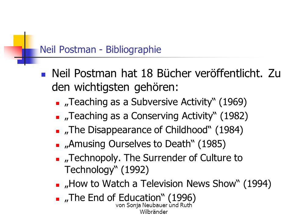 Neil Postman - Bibliographie