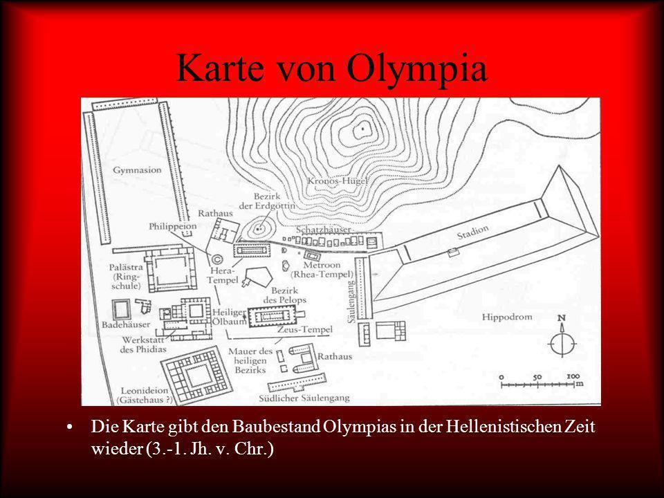 Karte von Olympia Die Karte gibt den Baubestand Olympias in der Hellenistischen Zeit wieder (3.-1.
