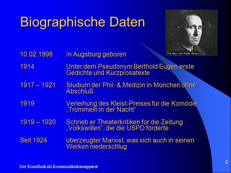 Biographische Daten 10.02.1898 In Augsburg geboren