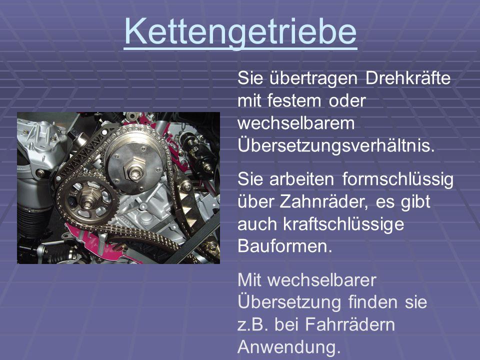 Kettengetriebe Sie übertragen Drehkräfte mit festem oder wechselbarem Übersetzungsverhältnis.
