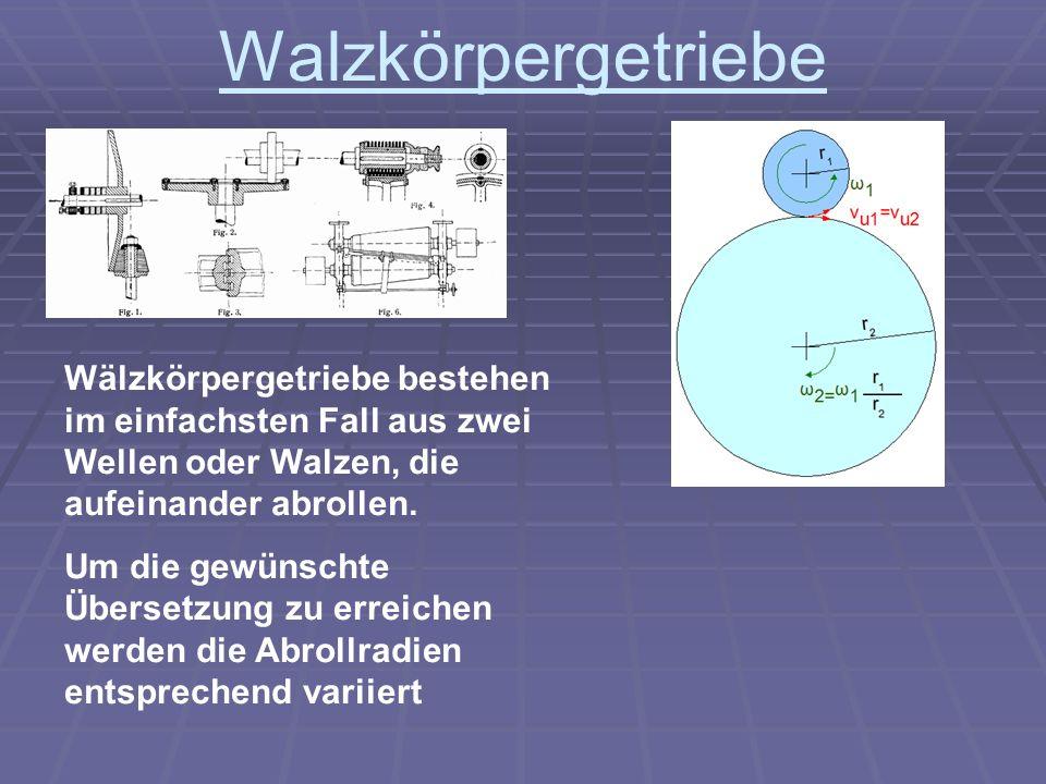 Walzkörpergetriebe Wälzkörpergetriebe bestehen im einfachsten Fall aus zwei Wellen oder Walzen, die aufeinander abrollen.