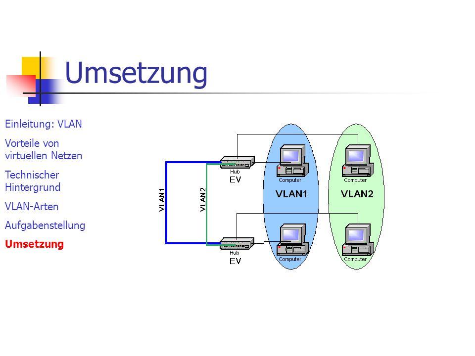 Umsetzung Einleitung: VLAN Vorteile von virtuellen Netzen
