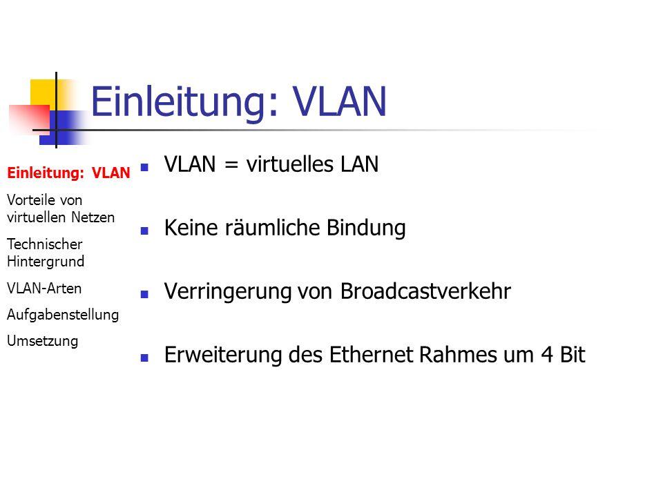 Einleitung: VLAN VLAN = virtuelles LAN Keine räumliche Bindung