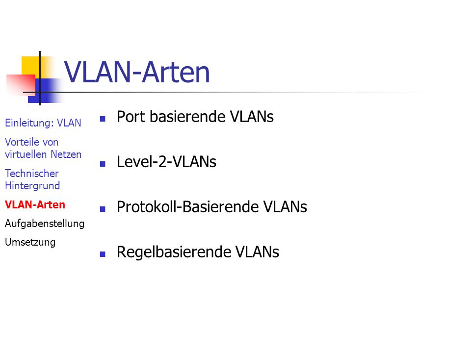VLAN-Arten Port basierende VLANs Level-2-VLANs