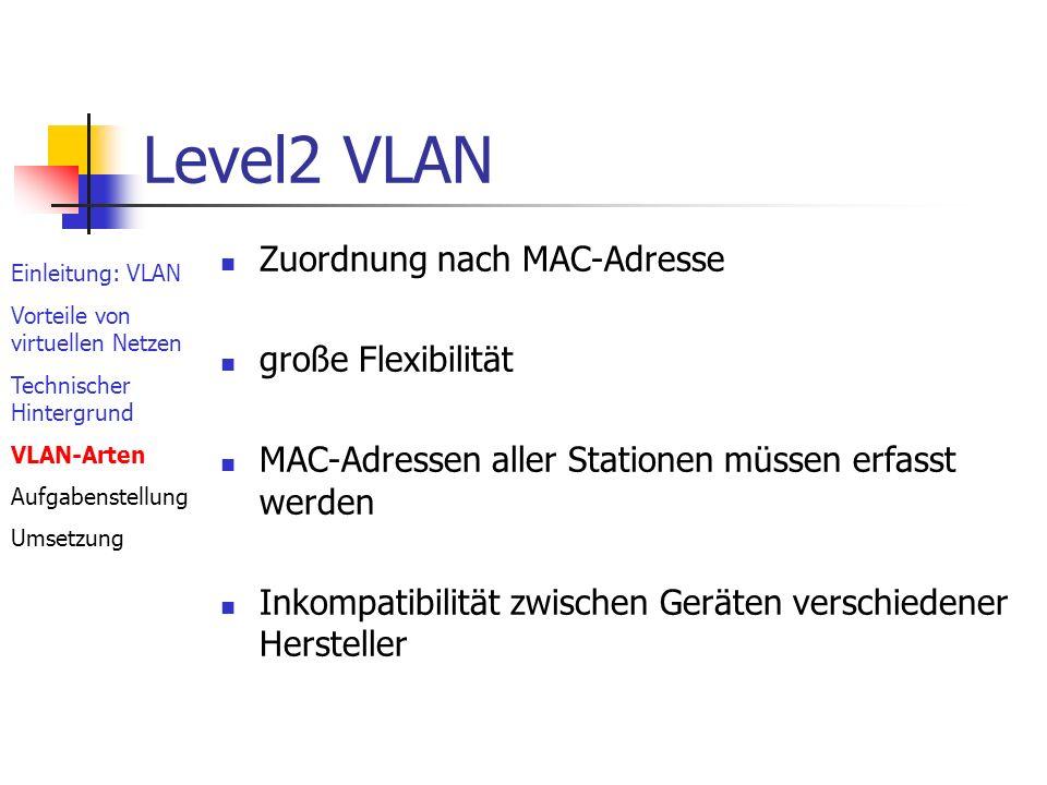 Level2 VLAN Zuordnung nach MAC-Adresse große Flexibilität