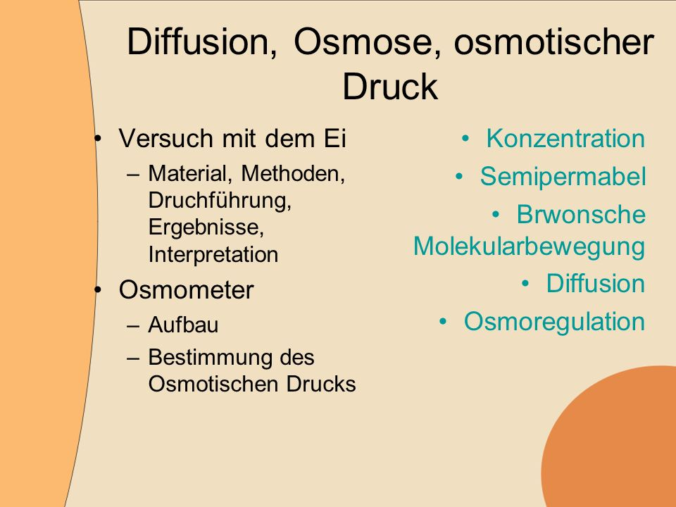 Diffusion, Osmose, osmotischer Druck