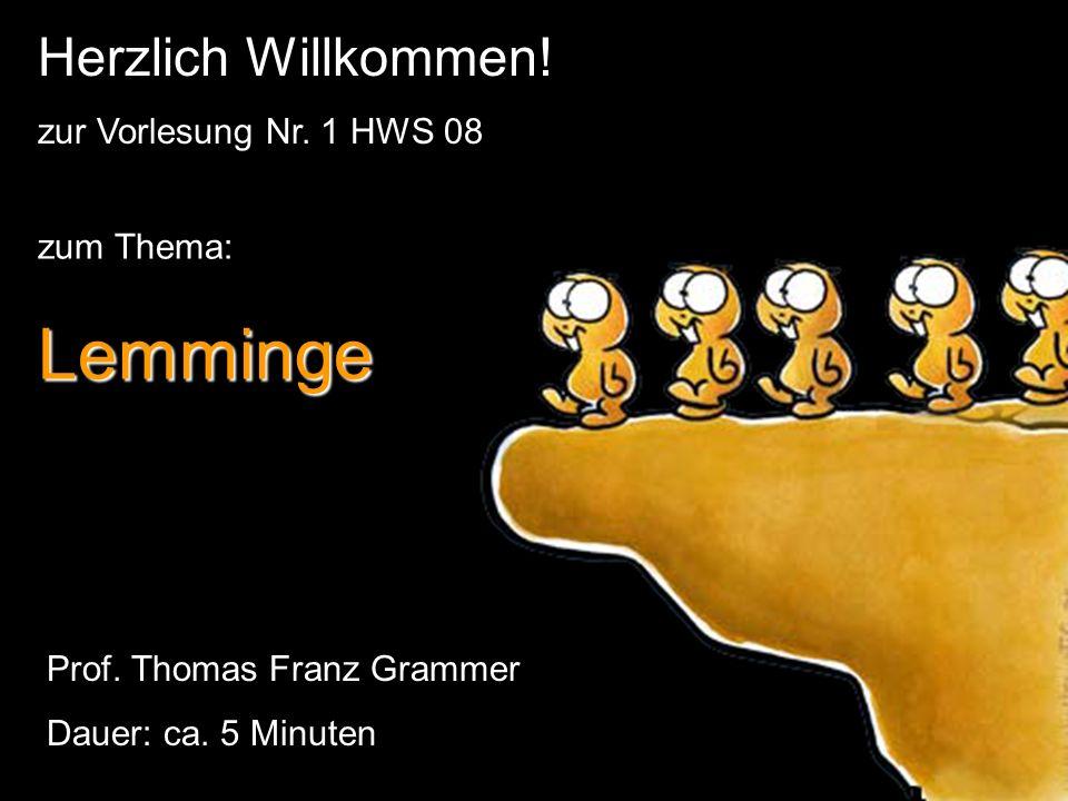 Lemminge Herzlich Willkommen! zur Vorlesung Nr. 1 HWS 08 zum Thema: