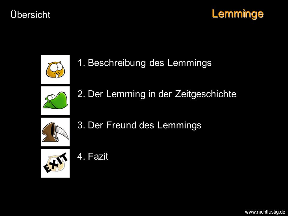 Lemminge Übersicht 1. Beschreibung des Lemmings