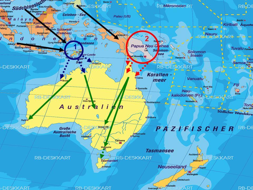 Aborigines Herkunft Vor 50'000 bis 60'000 Jahren (Eiszeit)