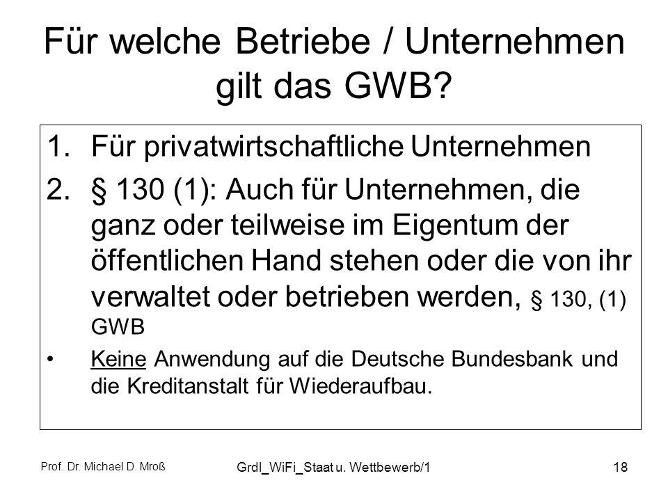 Für welche Betriebe / Unternehmen gilt das GWB