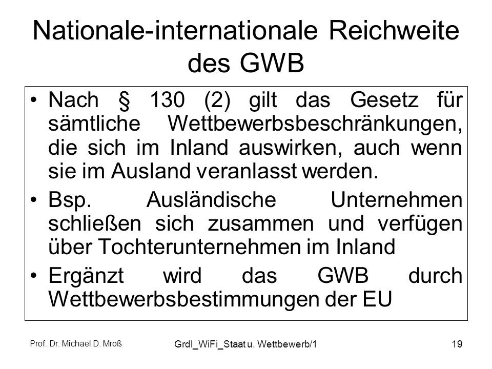 Nationale-internationale Reichweite des GWB