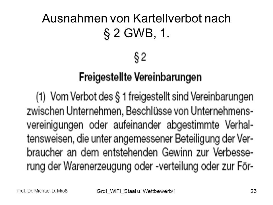 Ausnahmen von Kartellverbot nach § 2 GWB, 1.