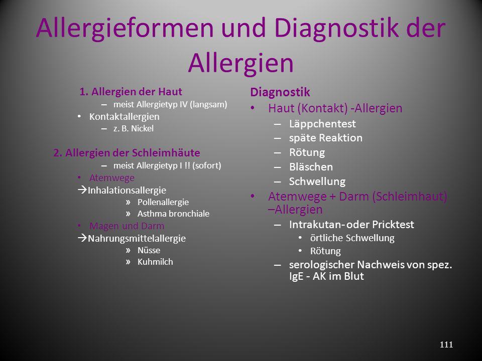 Allergieformen und Diagnostik der Allergien