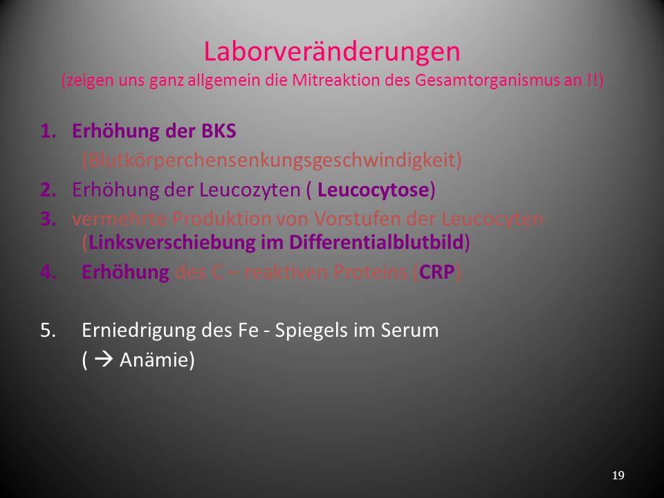 Laborveränderungen (zeigen uns ganz allgemein die Mitreaktion des Gesamtorganismus an !!)