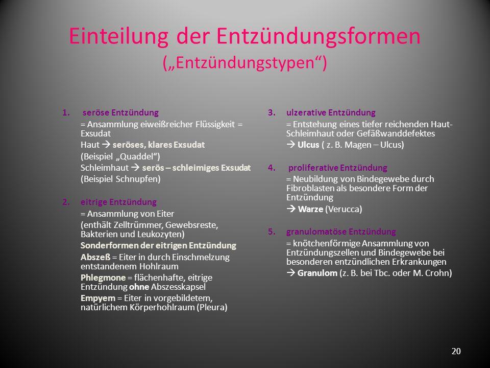 """Einteilung der Entzündungsformen (""""Entzündungstypen )"""