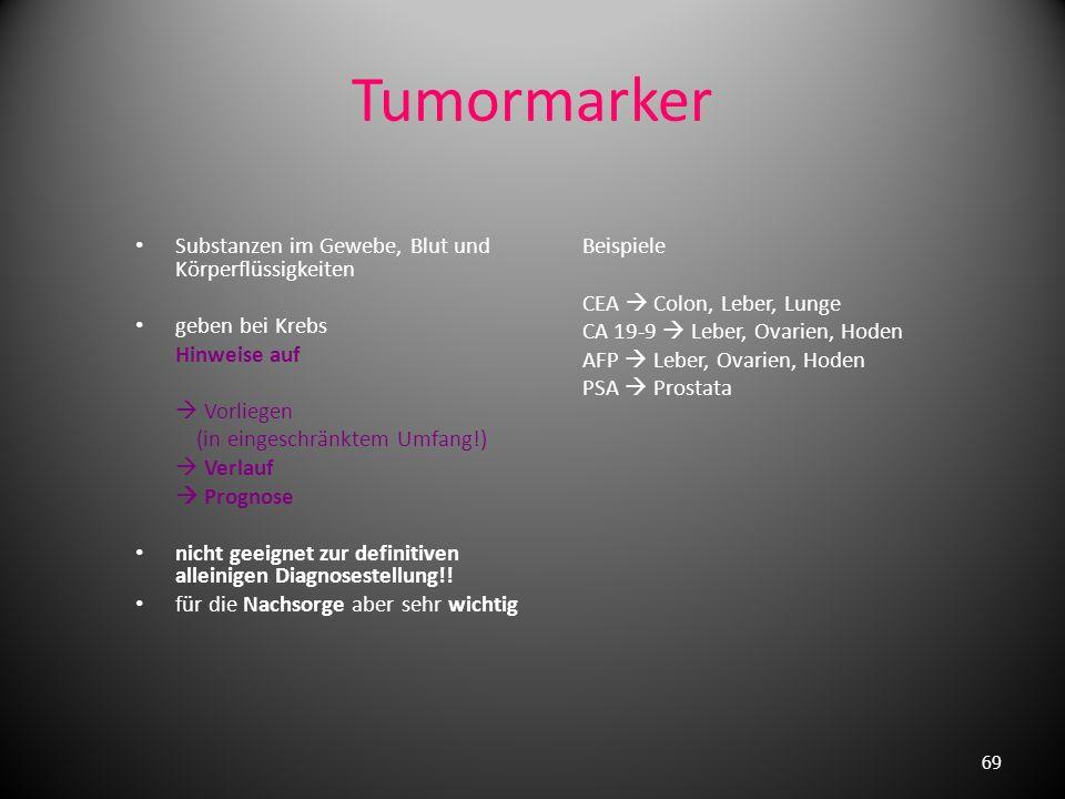 Tumormarker Substanzen im Gewebe, Blut und Körperflüssigkeiten