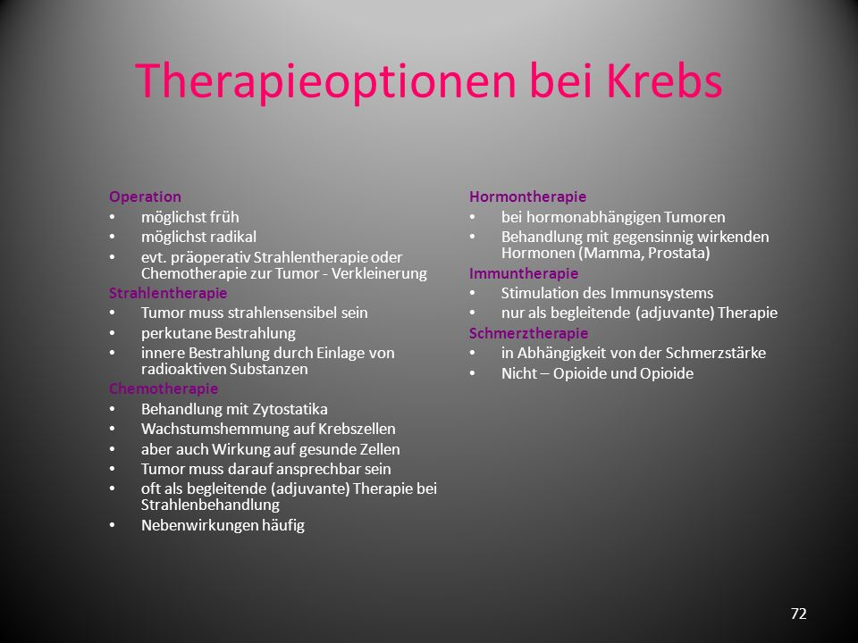 Therapieoptionen bei Krebs