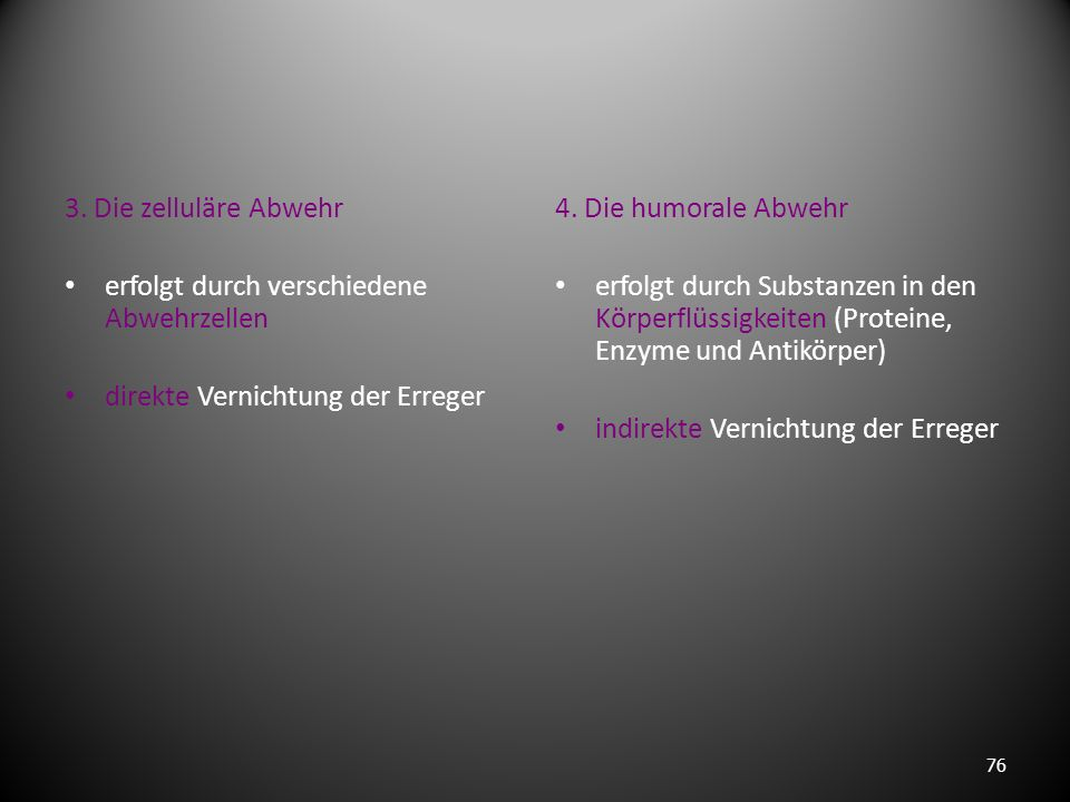 3. Die zelluläre Abwehr erfolgt durch verschiedene Abwehrzellen. direkte Vernichtung der Erreger. 4. Die humorale Abwehr.