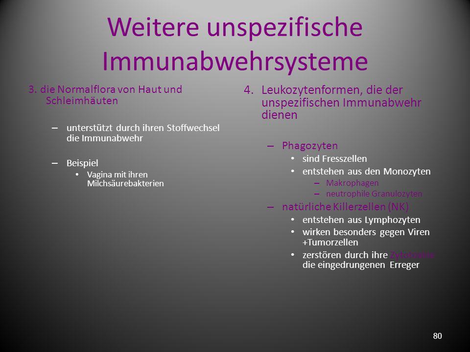Weitere unspezifische Immunabwehrsysteme