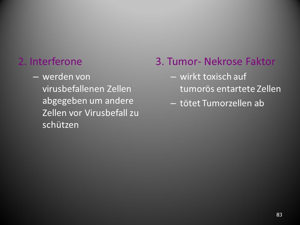 2. Interferone 3. Tumor- Nekrose Faktor