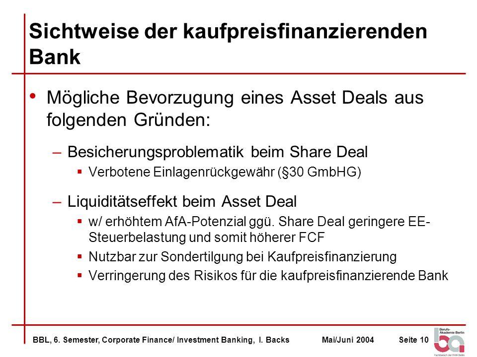 Sichtweise der kaufpreisfinanzierenden Bank