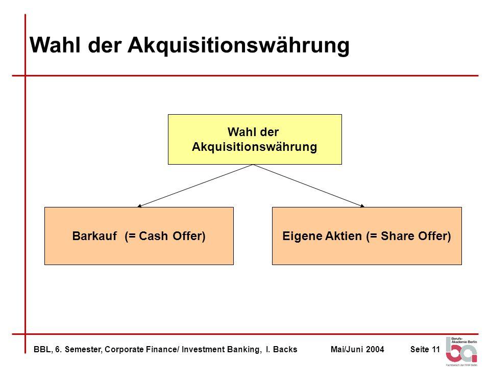 Wahl der Akquisitionswährung